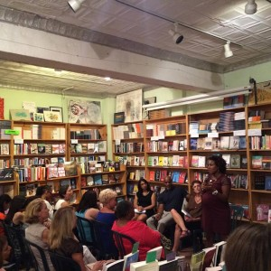 Salamishah Tillett speaking at Bluestockings in NYC Sept. 8 with me, Ted Bunch and Debjani Roy.